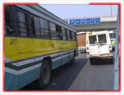 DTC Bus Near Kalka Mandir Fly Over