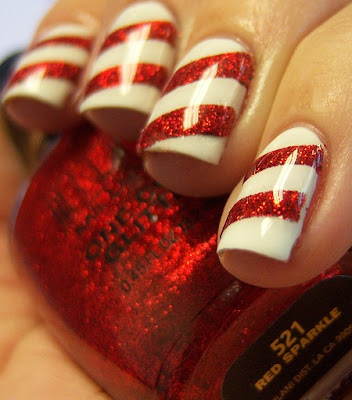 Chloe's Nails Candycane Nail Art