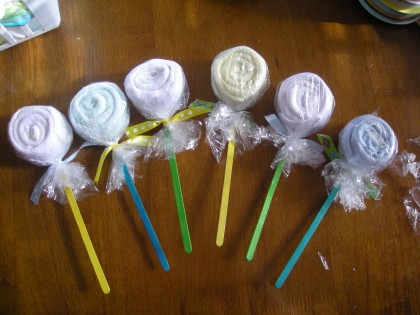 Free Baby Projects Baby Washcloth Lollipop Favors