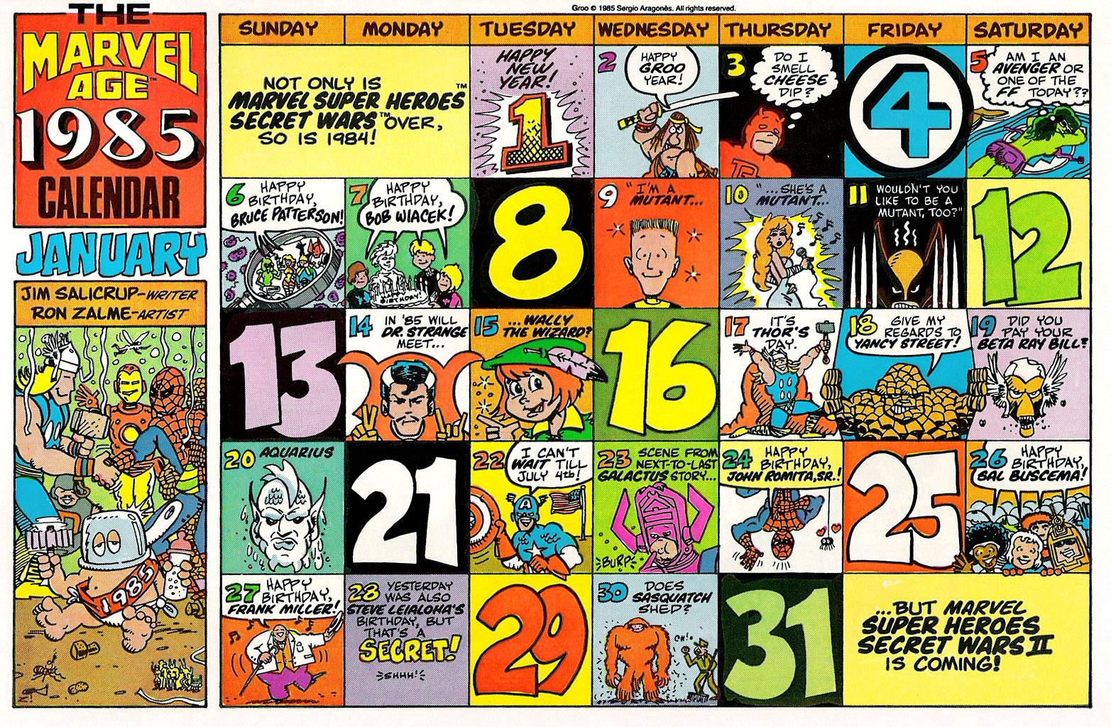 Marvel Comics Of The 1980s 1985 January Calendar