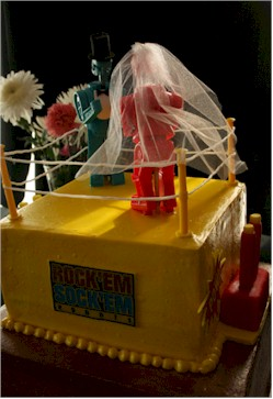 rock em sock robots wedding cake topper cup a cakes rock em sock em grooms cake 19250