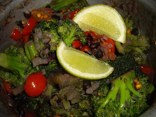 Brocoli and Black Beans with Lime