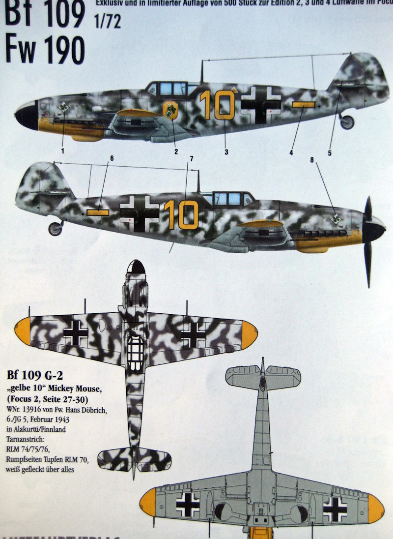 "This sheet also features a second Bf 109 G-2 ""yellow 10"" assigned to JG 5  ace Döbrich."