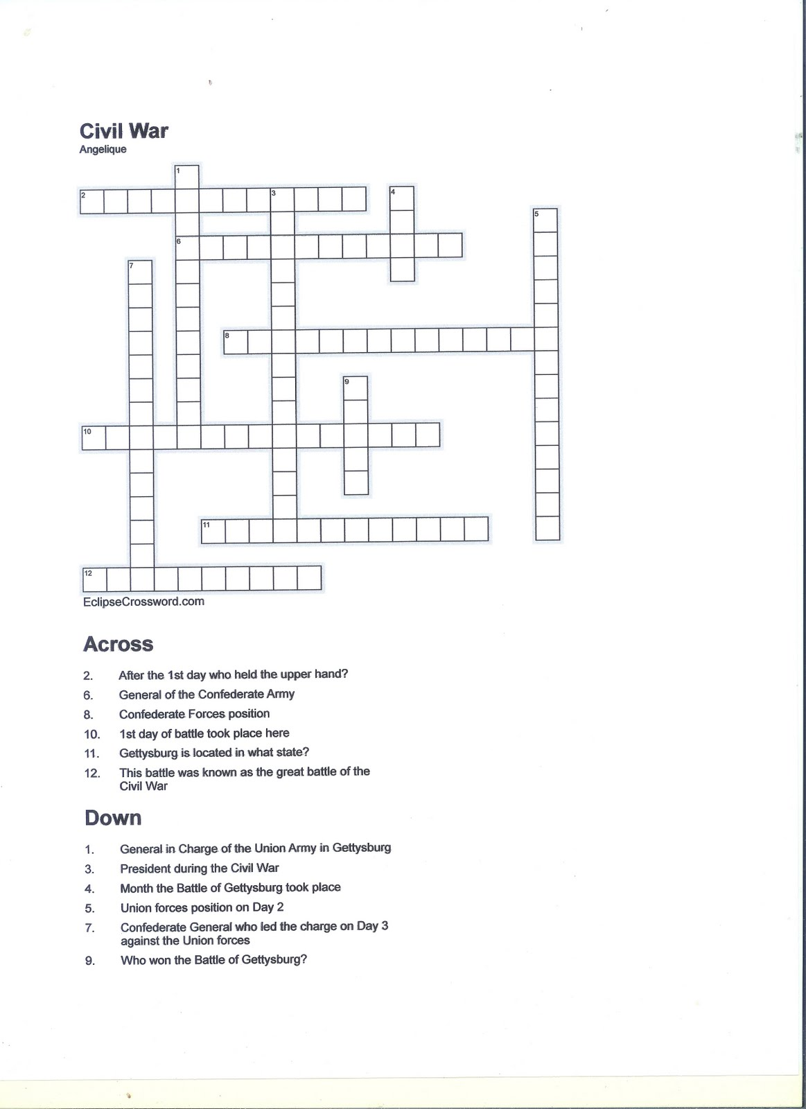Ang S Story The Battle Of Gettysburg Crossword Puzzle
