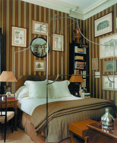 Metallic Masculine Bedroom: Copy Cat Chic: Anthropologie Italian Campaign Canopy Bed