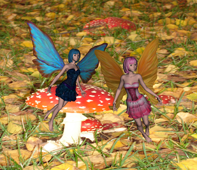 beautiful fairies in mushroom scene