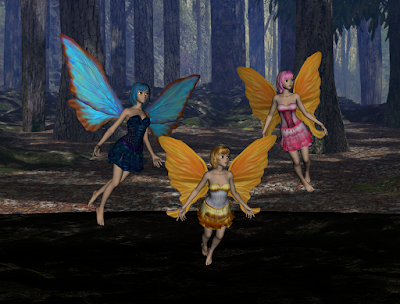 Three beautiful fairies in the forest