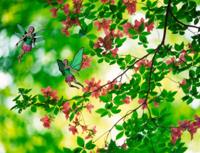 Pink and green flower fairies in mountain azalea