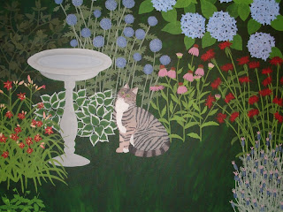 Garden painting with cat