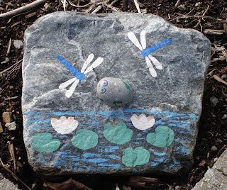 pond scene rock painting