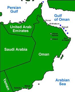 Mapa de Oman y zonas de buceo