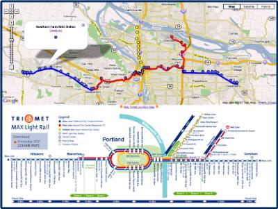 Max Light Rail Map map_: Portland Trimet MAX Light Rail on Google Maps Max Light Rail Map