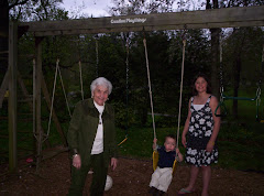 Great Bubbie and Sammy pushing Drew on the swing
