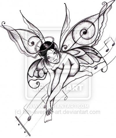 Marvelous Best Tattoo Design Musical Fairy Tattoo Design By Fifth Avenue Short Hairstyles Gunalazisus
