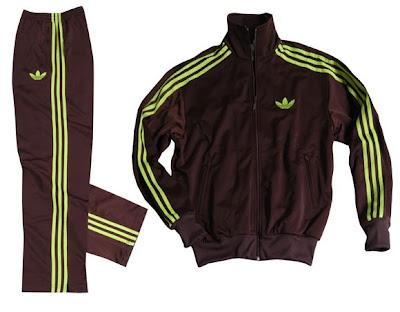 hot products available low price sale Les3bandes: L'ensemble Adidas Firebird marron à bandes jaune ...