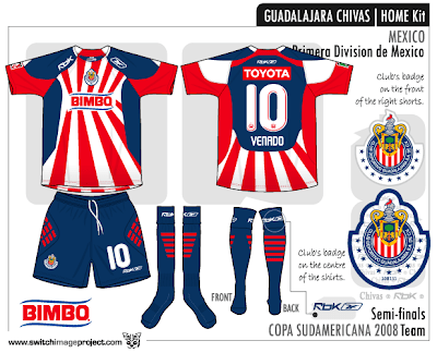 751a44f574c Club deportivo Guadalajara Chivas home is made by Reebok with team s  traditional red and white striped jersey