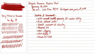Review : Private Reserve Fiesta Red Fountain Pen Ink
