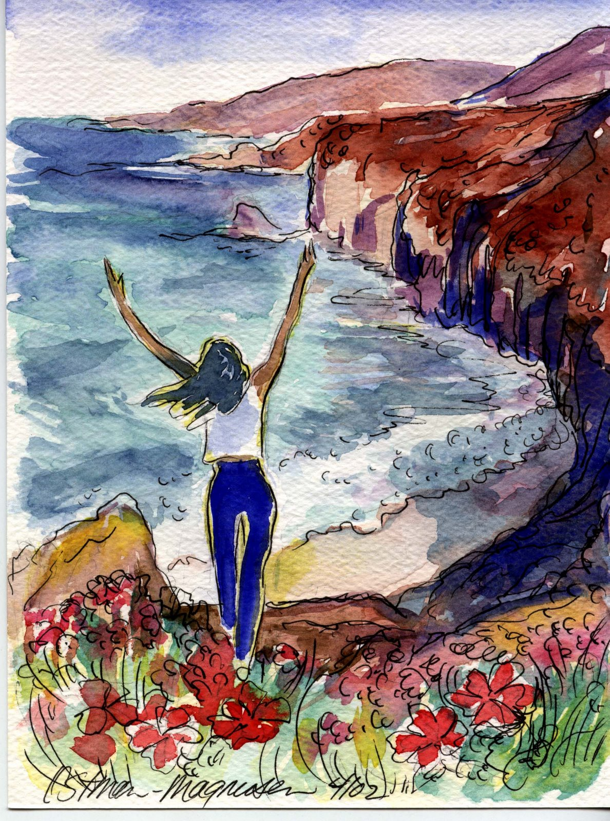 Hawaiian Art Prints Posters People-watercolors 6x8