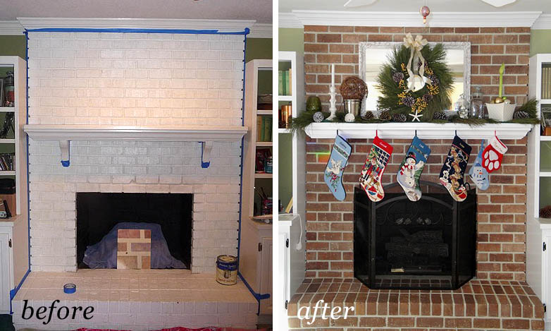 Painting Brick Fireplace From White, Pictures Of Painted Fireplaces Before And After