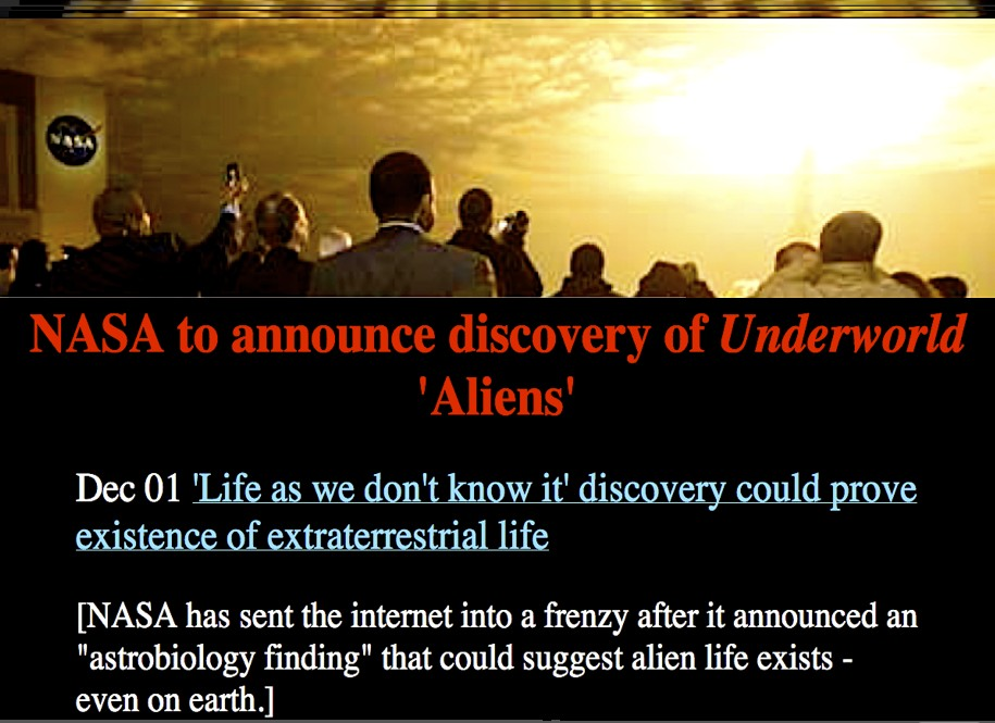 : NASA TO ANNOUNCE DISCOVERY OF UNDERWORLD 'ALIENS' (HELIODA1)