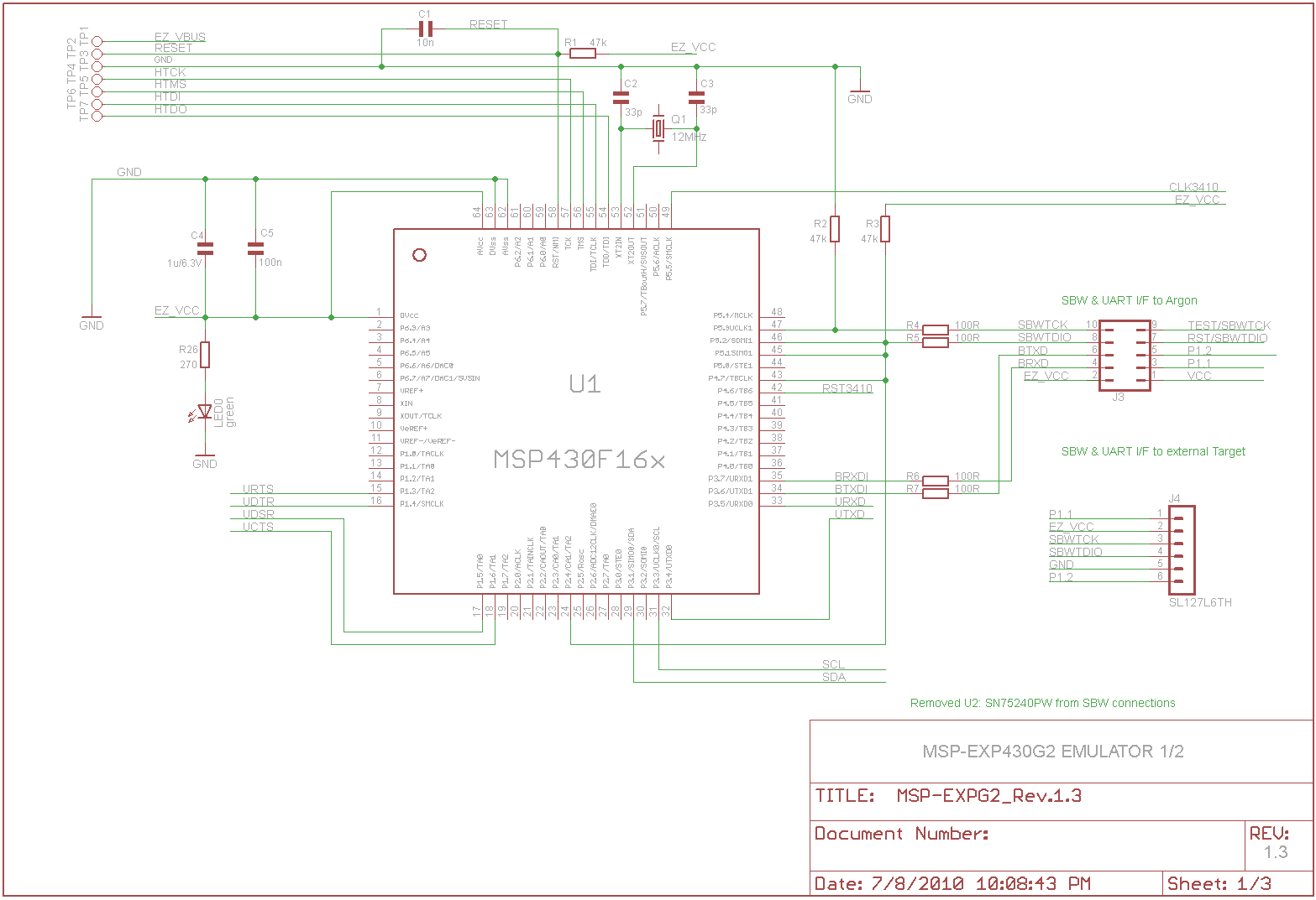 MSP430 LaunchPad: Schematic Images and Explanation