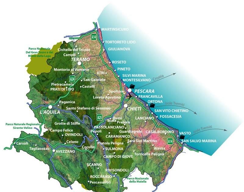 Cartina Dettagliata Abruzzo.Le Regioni Italiane Abruzzo