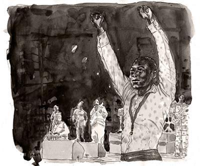 Seun Kuti Live - illustrazione di M. Ribichini