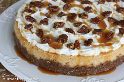 Pumpkin Cheesecake with Pecan-Gingersnap Crust topped with pecans and caramel