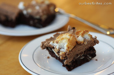 fudgy brownies with macaroons on top