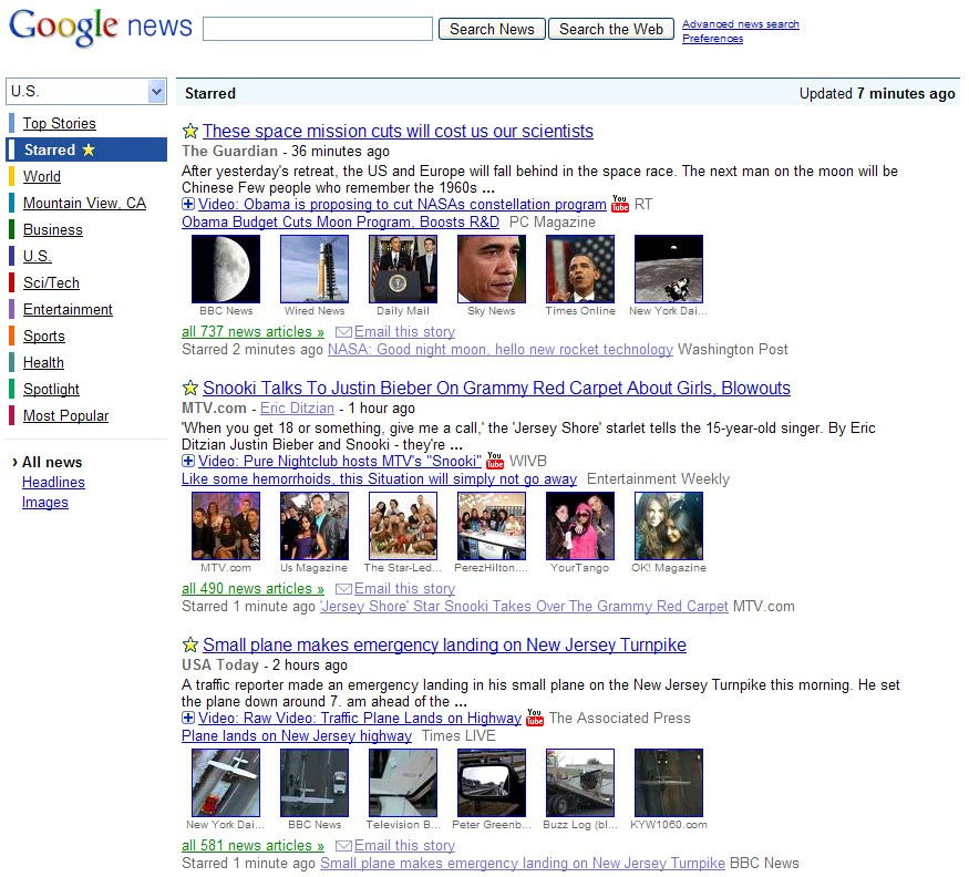 Google News Starred