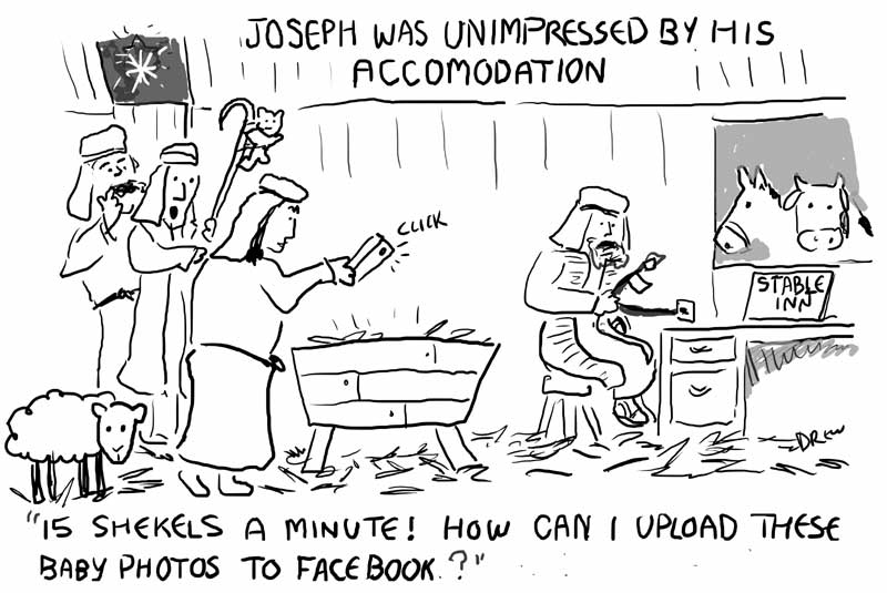 A Wi-Fi in a Manger Cartoon