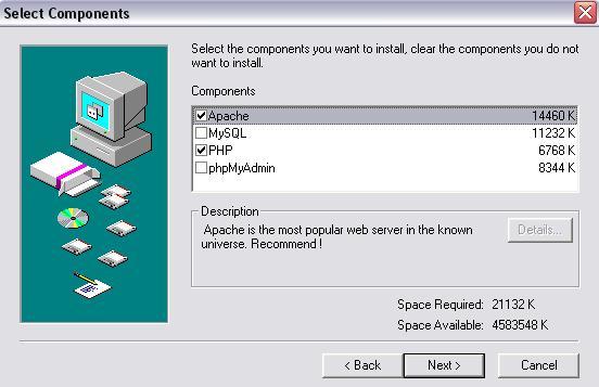 Seleccionando componentes del instalador