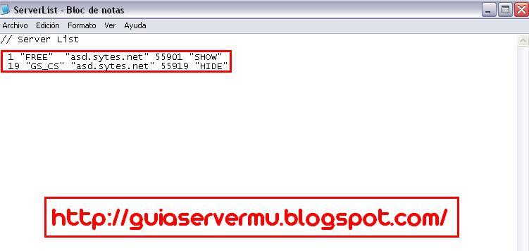 Configurando el archivo serverlist con la ip publica