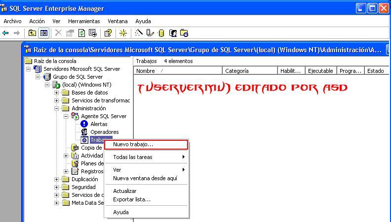 Iniciando nuevo trabajo SQL