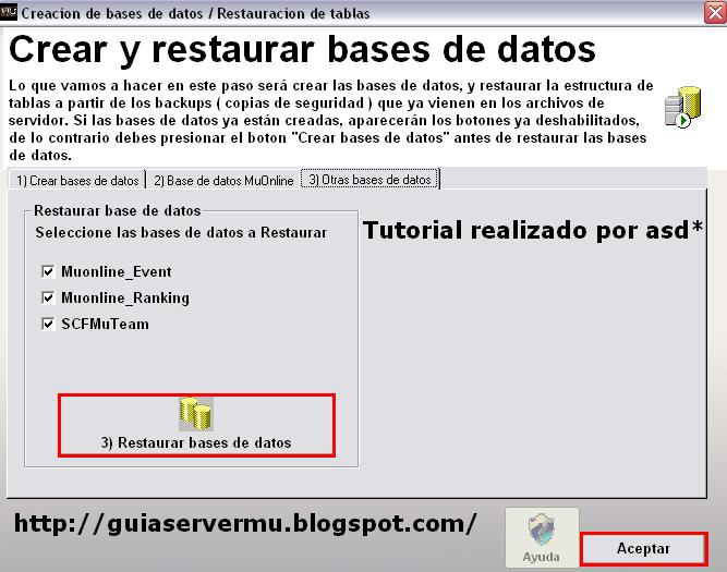 Restaurando base de datos faltantes