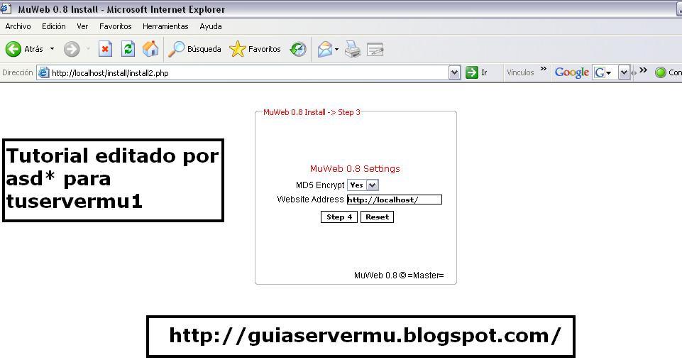 Configurando parámetros de la web