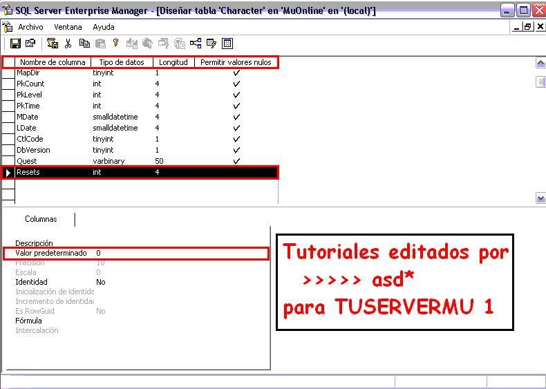 Modificando tipo de datos y longitud de la columna resets