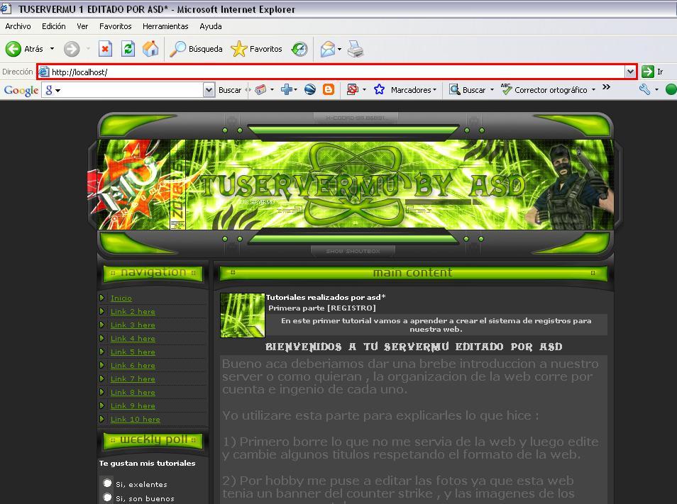 Visualizando el sitio web