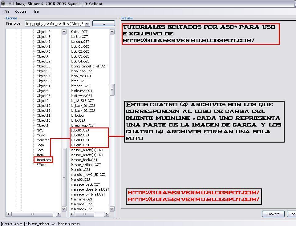 Selección de los archivos correspondientes a la interface