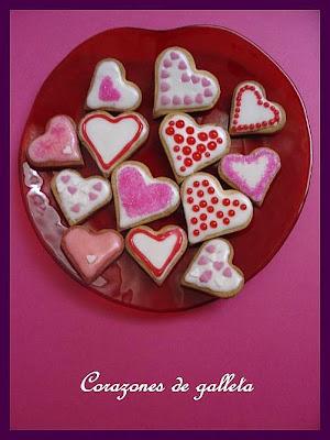 Biscuits, macarons, muffins et cupcakes de Saint Valentin Corazones+de+galleta
