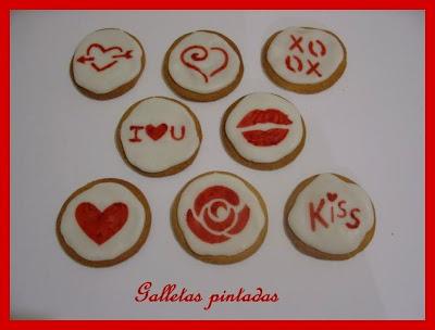 Biscuits, macarons, muffins et cupcakes de Saint Valentin Galletas+pintadas