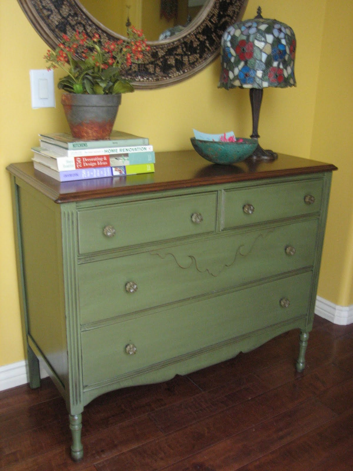 European Paint Finishes Green Dresser