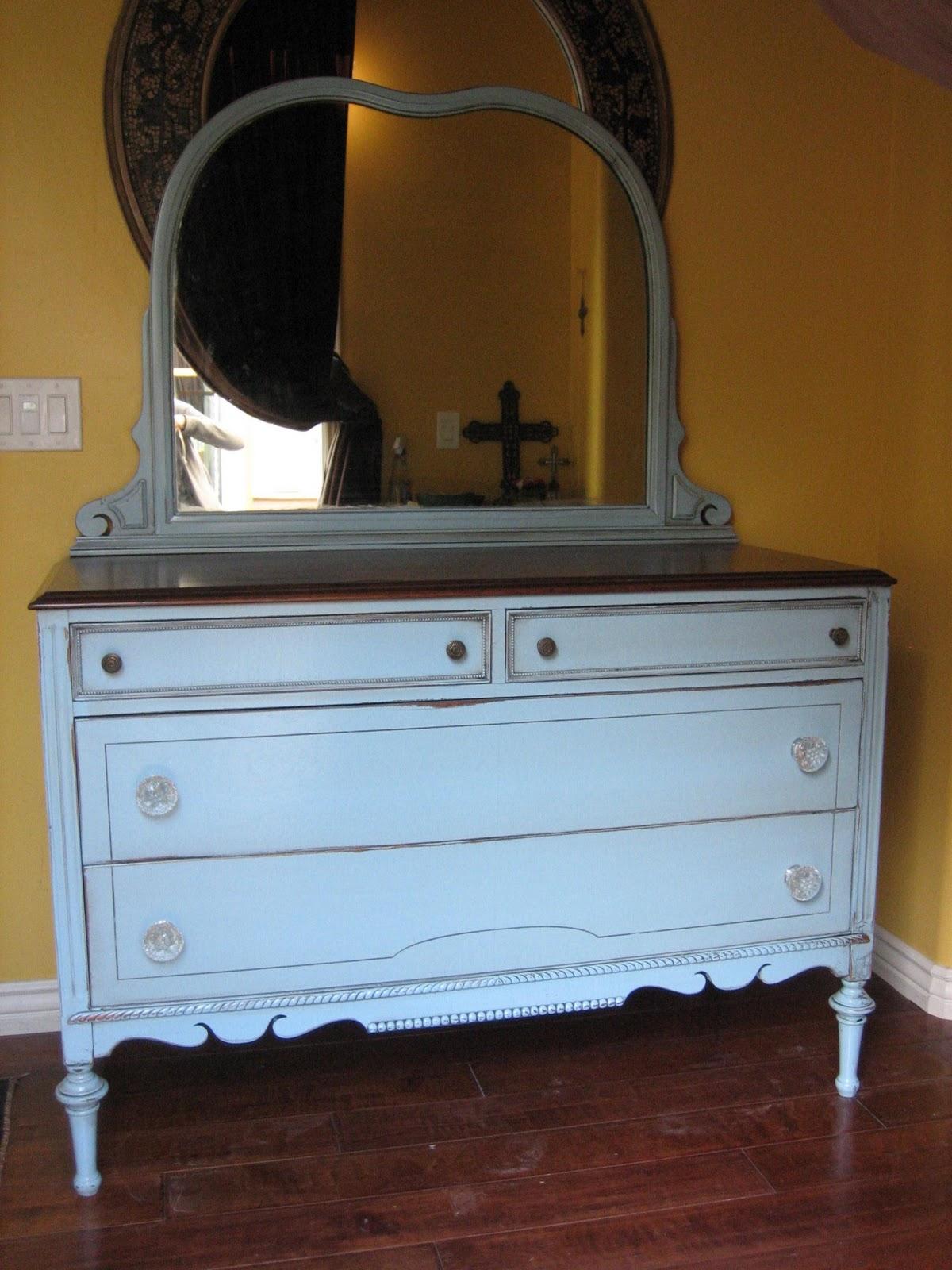 European Paint Finishes Antique Blue Dresser