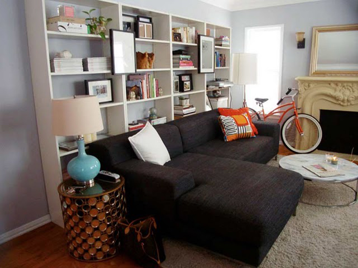 BLACK. WHITE. YELLOW.}: Bookshelves Behind Sofa