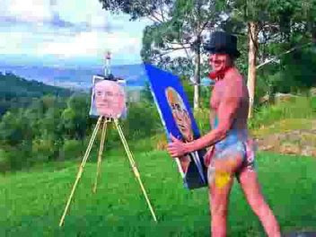 Under the artistic pseudonym Pricasso, Patch uses his penis to paint portraits,