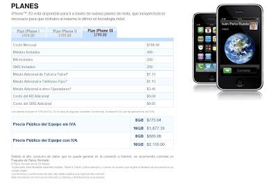 precios telcel planes iphone 3g un robo