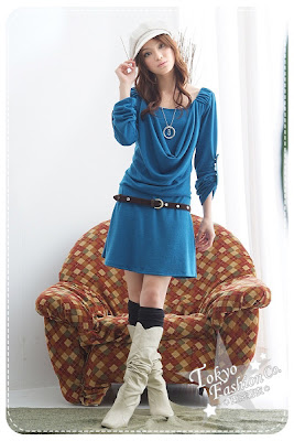 ����� �������� ������ ������� CO2873 Elegant Knitted One Piece Knitted Black Purple Blue Free Size(Chest80-84CM Long75CM Sleeve Long57CM)  BLue $28.jpg