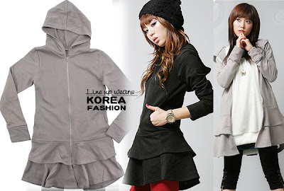 ����� �������� ������ ������� CO2060 Hooded Cotton Long top Cotton Black Grey Free Size(Chest80-84CM Long80CM Sleeve Long59CM)  Black Grey $22.jpg