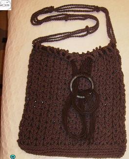 Bolsa de crochê ponto Sônia Maria