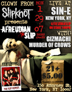 Clown from Slipknot hosting showcase at Sin-e